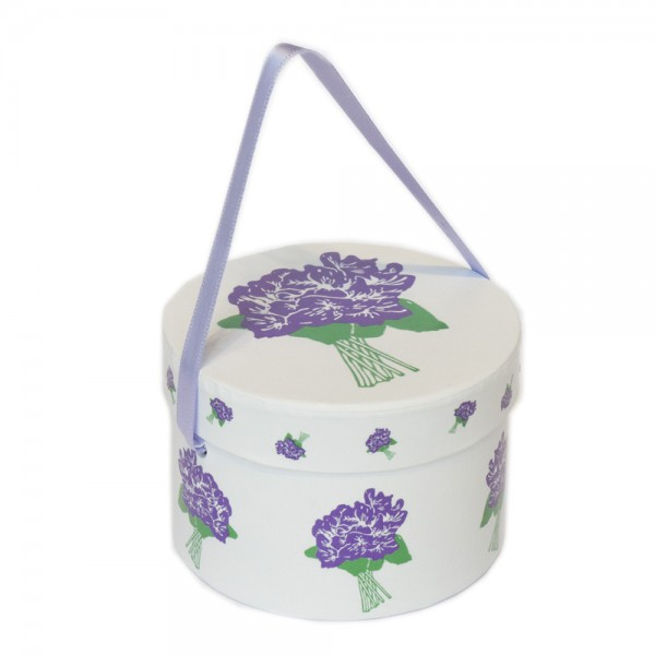 BASIC HAT BOX 100 GR CANDIED VIOLET FLOWERS