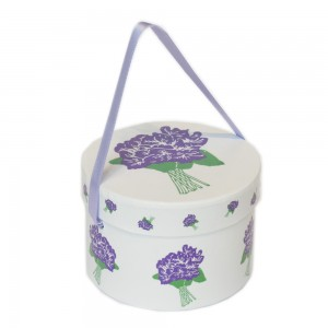 SMALL HAT BOX 100 GR SUGAR COATED VIOLET FLOWER