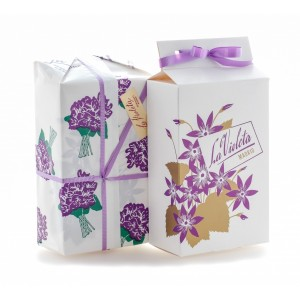 SIMPLE BOX 1000 GR SUGAR COATED VIOLET FLOWER