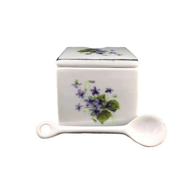 SQUARE SUGAR BOWL WITH SPOON 115 GR