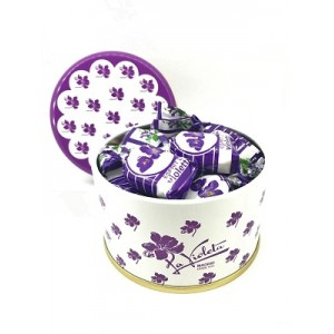 SMALL TIN 130 GR VIOLET LIQUOR CANDIES