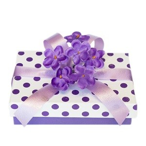 PURPLE POLKA DOTS BOX SUGAR COATED VIOLET FLOWET 150 GR