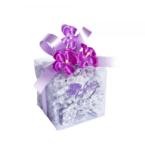 CLEAR SQUARE BOX 150 GR VIOLET CANDIES