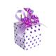 PURPLE POLKA DOTS SMALL SQUARE WHITE BOX 90 GR