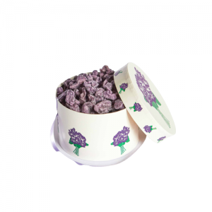DELUXE HAT BOX 180 GR CANDIED VIOLET FLOWERS