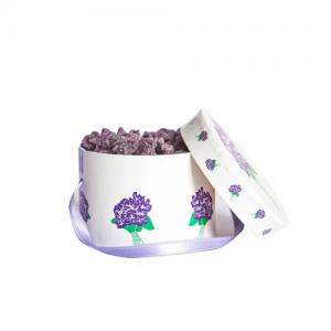 BASIC HAT BOX 100 GR CANDIED VIOLET FLOWERS